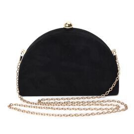 Semi Circle Clutch Bag with Detachable Shoulder Chain Strap (Size 20x13x4.5 Cm) - Black