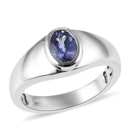 AA Tanzanite (Ovl) Solitaire Ring in Platinum Overlay Sterling Silver 1.00 Ct.