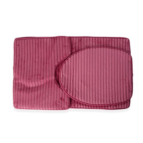 3 Pcs Bath Set - Pink Colour Bath Mat (Size 80x50 cm), Toilet Cover (Size 50x40 cm) and Mat (80x50 c