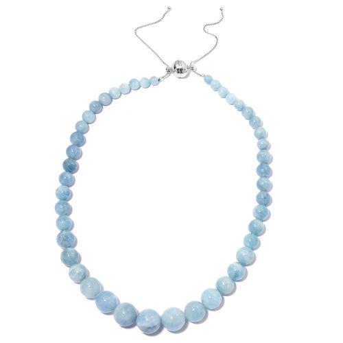 Espirito Santo Aquamarine (Rnd) Adjustable Graduated Necklace (Size 18 - 22) in Rhodium Overlay Ster