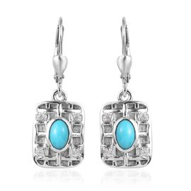 Arizona Sleeping Beauty Turquoise, Natural Cambodian Zircon Earrings in Platinum Overlay Sterling Si