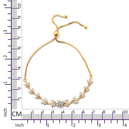 Swarovski Zirconia (4.50 Ct) 14K Gold Overlay Sterling Silver Bracelet (Size 7.5)  4.500  Ct.