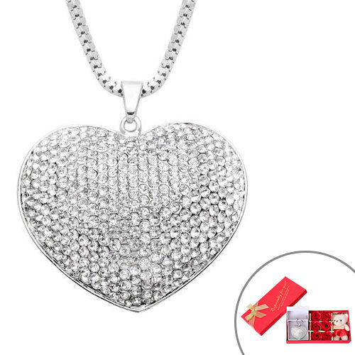 Monster Deal- White Austrian Crystal Heart Pendant with Chain in Silver Tone