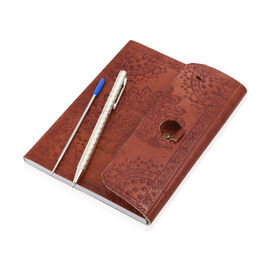 Luxury Silver Pen (10 Gms) With 1 Extra Refill and Embossed Leather Diary (Size 17.5X12.5 Cm)  - Pea