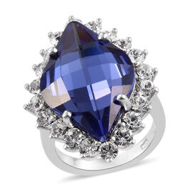 J Francis - Crystal from Swarovski Tanzanite Colour Crystal and White Crystal Ring in Platinum Overl
