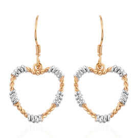 14K Gold Overlay Sterling Silver Heart Hook Earrings