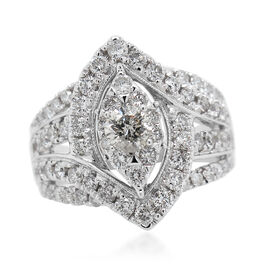 14K White Gold Diamond (I1-I2/G-H) Ring 2.00 Ct, Gold wt 9.00 Gms