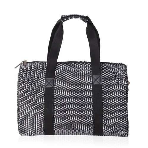 Annabelle Water Resistant  White Black  Dots Pattern Weekend Bag with Removable Shoulder Strap and External Zipper (Size 43x26x23.5 Cm)