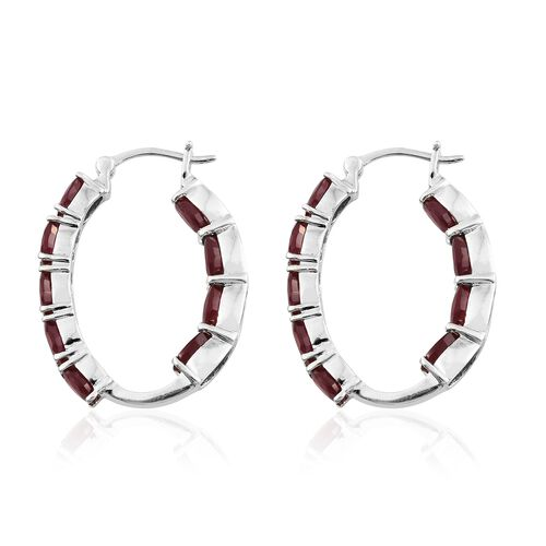 African Ruby (Ovl) Hoop Earrings (with Clasp) in Platinum Overlay Sterling Silver 12.000 Ct. Silver wt 6.88 Gms.