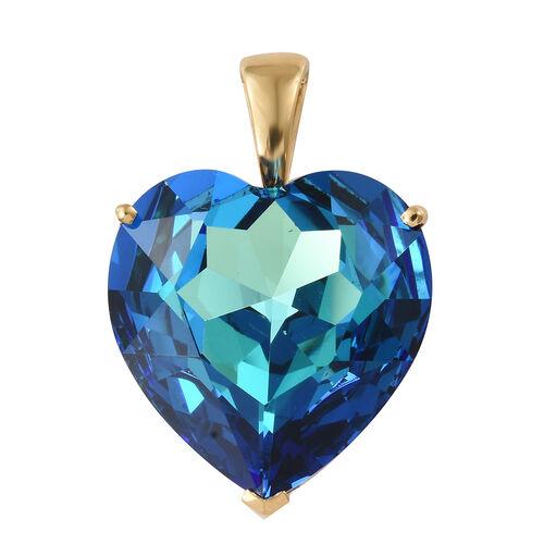 J Francis - Crystal from Swarovski - Swarovski Bermuda Blue Crystal (Hrt 28 mm) Pendant in 14K Gold