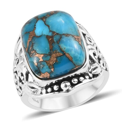 11.55 Ct Blue Turquoise Solitaire Ring in Silver Plated
