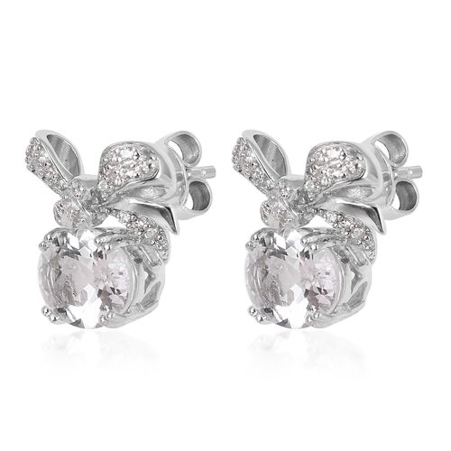 Petalite (Ovl), Natural White Cambodian Zircon Bow Stud Earrings (with Push Back) in Rhodium Overlay Sterling Silver 3.380 Ct.