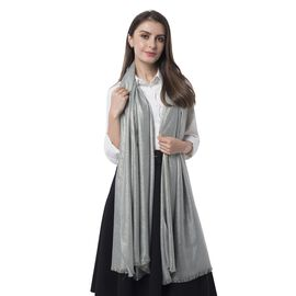 Designer Inspired-Silver Grey Colour Scarf with Solid Colour (Size 200x100 Cm)