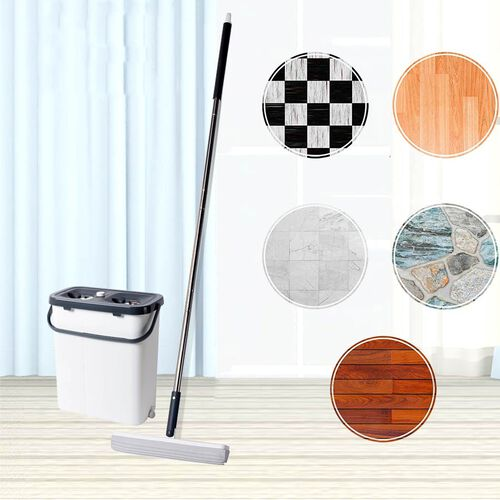 Mop (141.5x33cm) with 2 interchangeable Mop Heads and a Cleaning Bucket (35x20.3x38.4cm)