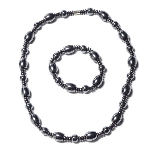 2 Piece Set - Hematite Stone Stretchable Bracelet (Size 6.5) and Necklace (Size 20 with Magnetic Loc