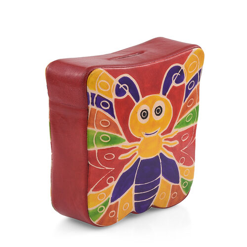 Genuine Leather Red and Multi Colour Hand Painted Butterfly Shape Money Bank (Size 13x4 Cm)