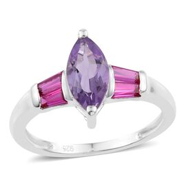 Amethyst (Mrq), Simulated Ruby Ring in Sterling Silver 1.250 Ct.