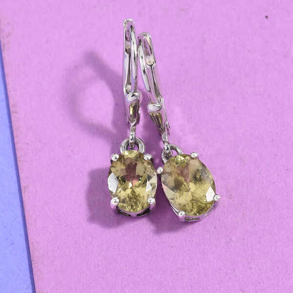 Madagascar Yellow Apatite (Ovl) Lever Back Earrings in Platinum Overlay Sterling Silver 2.50 Ct.