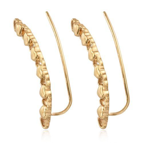 Silver Mini Heart Climber Earrings in Gold Overlay