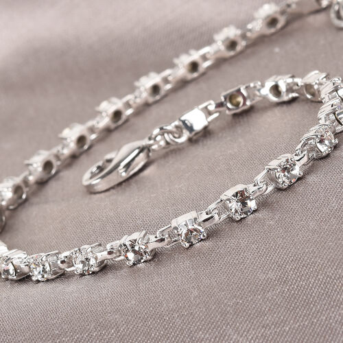 J Francis Crystal from Swarovski White Colour Crystal Bracelet (Size 7 with 1 inch Extender) in Siver Tone