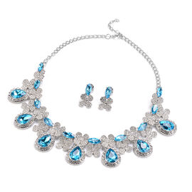 2 Piece Set - Simulated Aquamarine and White Austrain Crystal Necklace (Size 20 with 2 inch Extender
