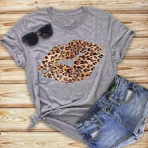 Kris Ana Leopard Kiss Grey T Shirt - Size: Medium (10-12)