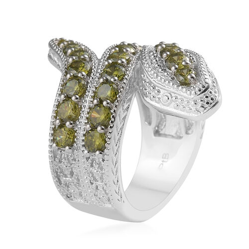 Simulated Peridot Serpent Ring in Silver Tone
