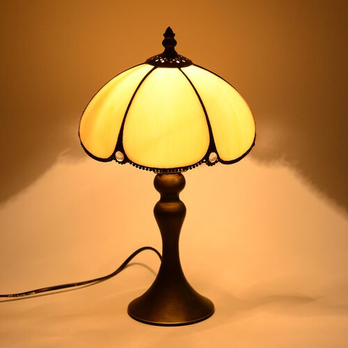 Home Decor - Tiffany Style Table Lamp with Handcrafted Stained Glass and Mother of Pearl Plating Finish