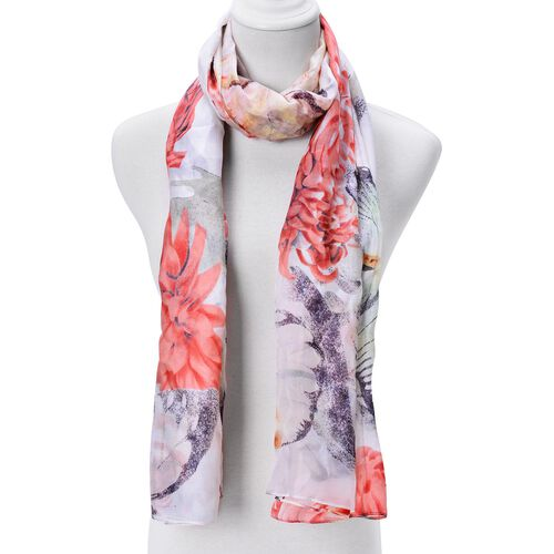 100% Mulberry Silk Black and Red Butterfly and Floral Pattern White Colour Scarf (Size 180x110 Cm)