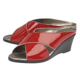 Lotus Patent Leather Trino Open-Toe Mule Sandals in Red Colour