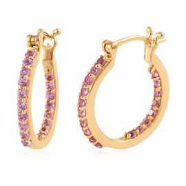 WEBEX- Pink Sapphire (Rnd) Hoop Earrings (with Clasp Lock) in 14K Gold Overlay Sterling Silver 2.000 Ct, Silver wt. 5.98 Gms.