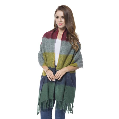Designer Inspired - Green, Red and Multi Colour Horizontal Stripes Pattern Knitted Scarf with Tassels (Size 190X60 Cm)