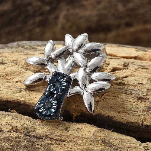Blue Diamond (Rnd) Tree Pendant in Blue and Platinum Overlay Sterling Silver