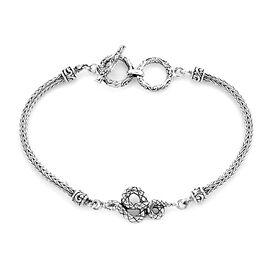 Royal Bali Collection - Sterling Silver Snake Tulang Naga Toggle Bar Bracelet (Size 7.5 with Extende