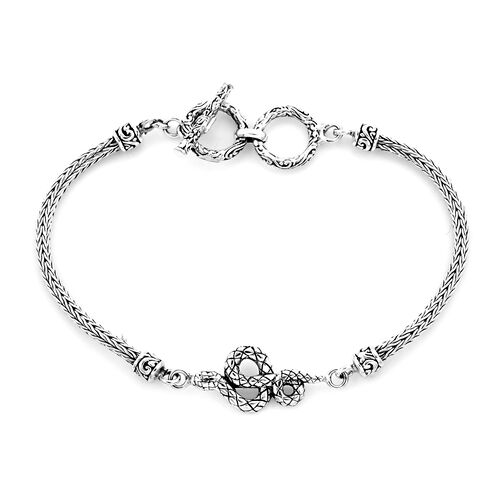 Royal Bali Collection - Sterling Silver Snake Tulang Naga Toggle Bar Bracelet (Size 7.5 with Extende