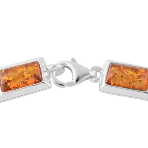 Multi Colour Baltic Amber Bracelet (Size 7) in Sterling Silver, Silver wt 11.00 Gms