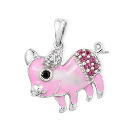 Rhodolite Garnet (Rnd), White Topaz, Boi Ploi Black Spinel Rhodium with Enameled Baby Pig Pendant with Chain (Size 18) in Sterling Silver 0.300 Ct.