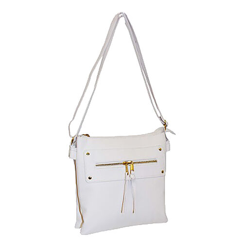 New for Season - Multi Compartment Super Soft Cross Body Bag (26 x 24 x 6 Cms) - White