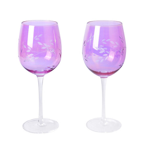 Set of 4 - Wine Glasses with Carved Leaf Design in Light Pink Colour with Mother of Pearl Effect
