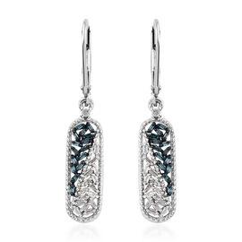 Blue Diamond (Bgt), White Diamond Lever Back Earrings in Platinum Overlay with Blue Plating Sterling