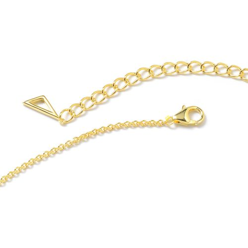 LucyQ Yellow Gold Overlay Sterling Silver Art Deco Necklace (Size 16 with 4 inch Extender), Silver wt 12.30 Gms.