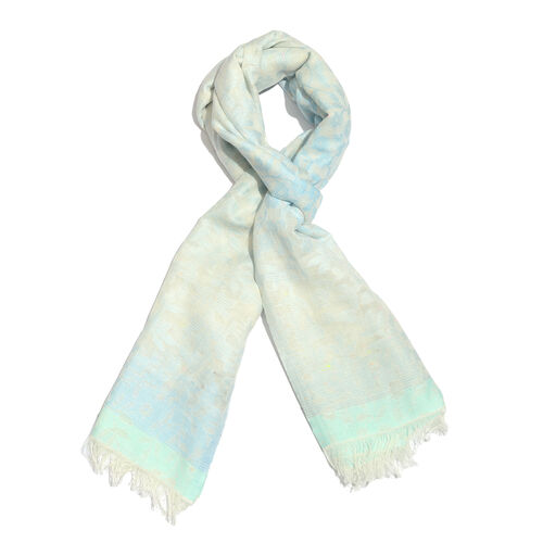 100% Cotton Cream and Blue Colour Flower Pattern Scarf (Size 180x70 Cm)