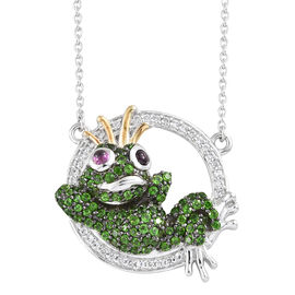 GP Russian Diopside (Rnd), Kanchanaburi Blue Sapphire and Multi Gemstone Frog Necklace with Chain (Size 18) in Platinum and Yellow Gold Overlay Sterling Silver 2.00 Ct, Number of Gemstone- 126.