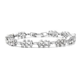 ELANZA Simulated Diamond (Bgt) Bracelet (Size 6.75) in Rhodium Overlay Sterling Silver .Silver wt 7.80 Gms.