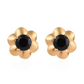Thai Black Spinel (1.25 Ct) 14K Gold Overlay Sterling Silver Earring  1.250  Ct.