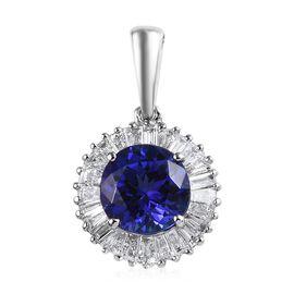 RHAPSODY 950 Platinum AAAA Tanzanite (Rnd), Diamond (VVS/E-F) Pendant 2.00 Ct.
