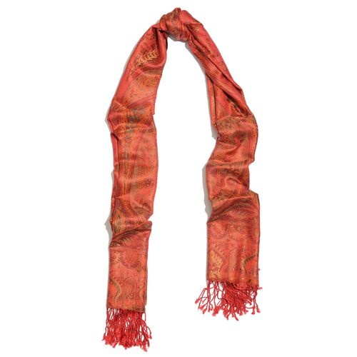SILK MARK - 100% Superfine Silk Orange and Multi Colour Jacquard Jamawar Scarf with Tassels (Size 180x70 Cm) (Weight 125 - 140 Gms)
