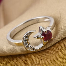 GP African Ruby, Natural Cambodian Zircon and Blue Sapphire Moon and Star Ring in Platinum Overlay S