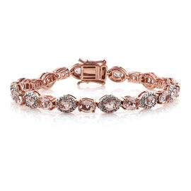 11.93 Ct Morganite and Cambodian Zircon Tennis Style Bracelet in Sterling Silver 15.73 Gms 6.5 Inch