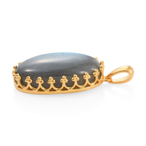 Extremely Rare Size Pauls Island Labradorite (Ovl 30x20mm) Pendant in Gold Plated 43.040 Ct.